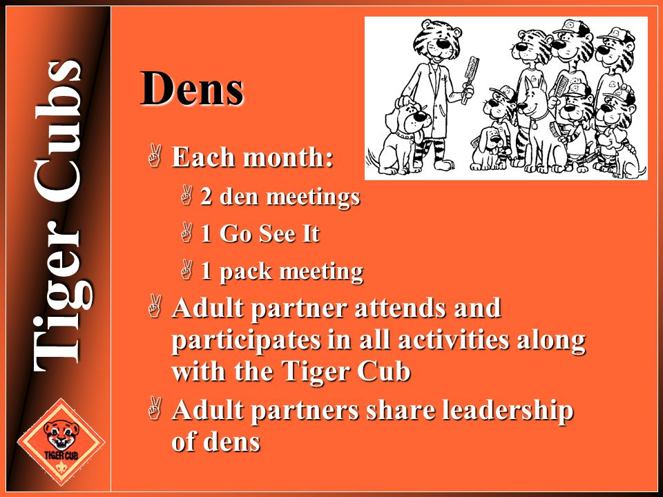 Tiger Cubs Dens  Each month:  2 den meetings  1 Go See It  1 pack meeting  Adult partner attends and participates in all activities along with th