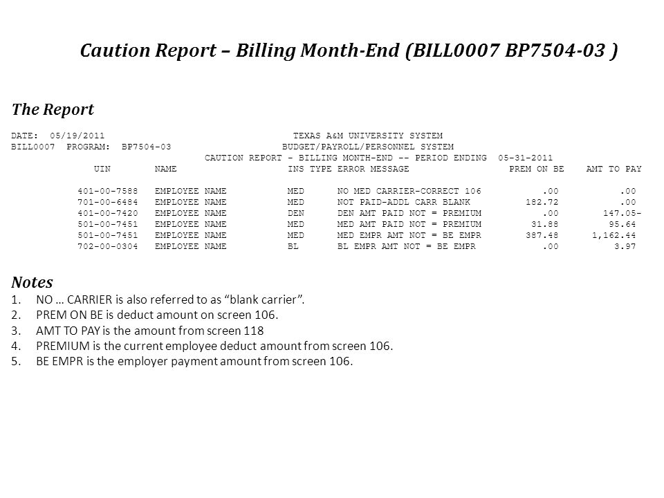 The Report DATE: 05/19/2011 TEXAS A&M UNIVERSITY SYSTEM BILL0007 PROGRAM: BP7504-03 BUDGET/PAYROLL/PERSONNEL SYSTEM CAUTION REPORT - BILLING MONTH-END