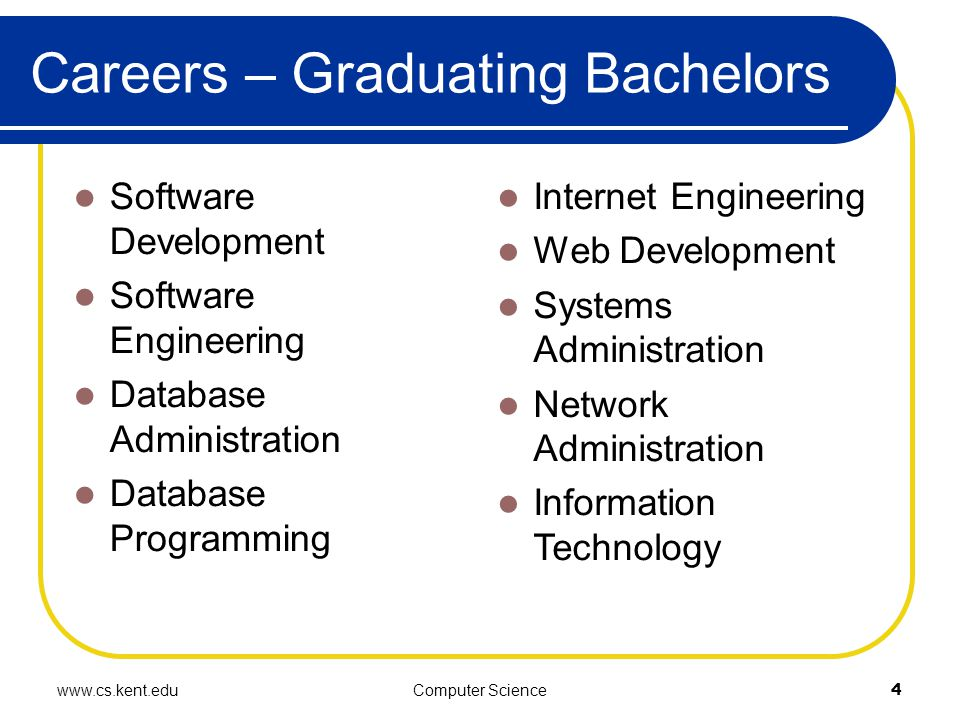 www.cs.kent.eduComputer Science4 Careers – Graduating Bachelors Software Development Software Engineering Database Administration Database Programming Internet Engineering Web Development Systems Administration Network Administration Information Technology
