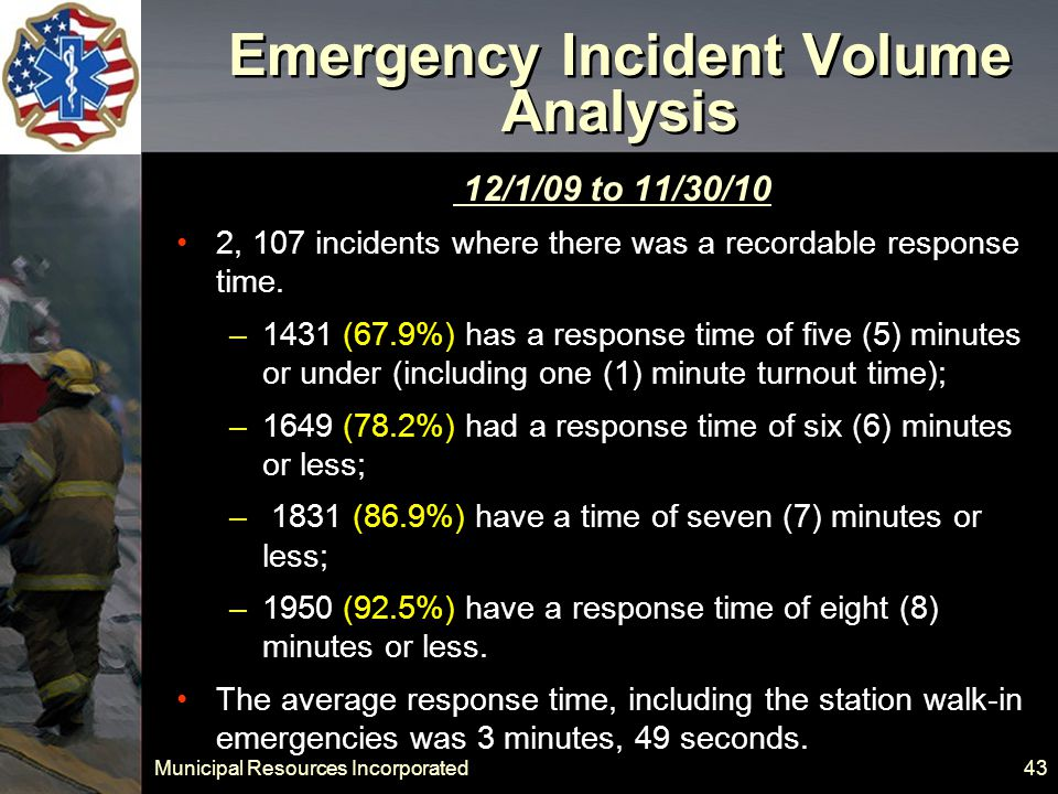 Municipal Resources Incorporated 43 Emergency Incident Volume Analysis 12/1/09 to 11/30/10 2, 107 incidents where there was a recordable response time.