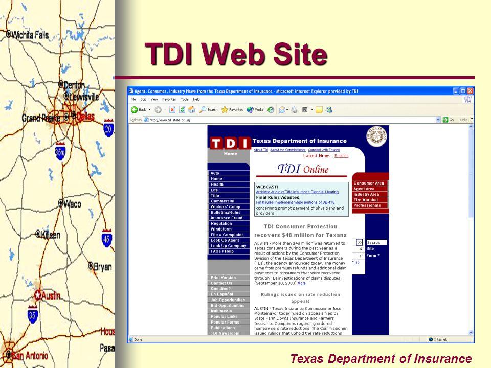 Texas Department of Insurance TDI Web Site