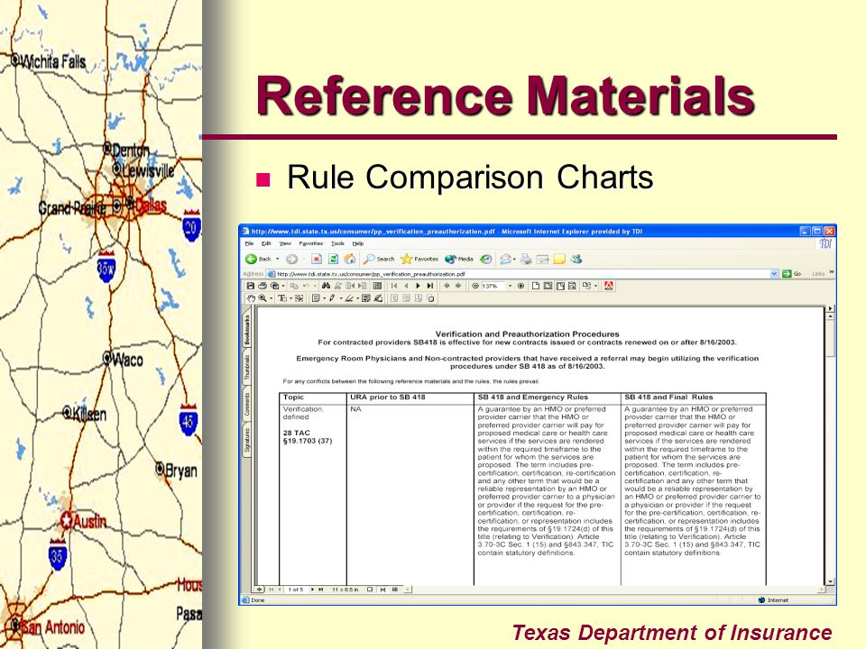 Texas Department of Insurance Reference Materials Rule Comparison Charts Rule Comparison Charts