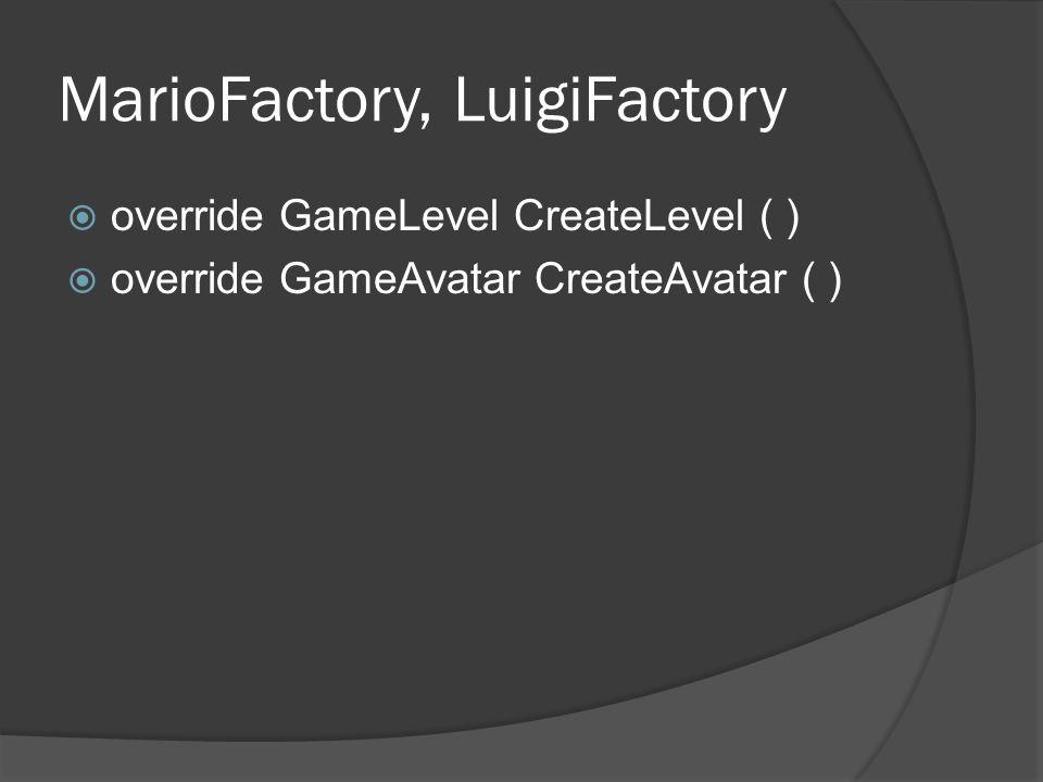 MarioFactory, LuigiFactory  override GameLevel CreateLevel ( )  override GameAvatar CreateAvatar ( )
