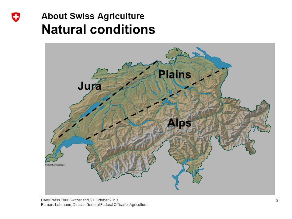 3 Dairy Press Tour Switzerland, 27 October 2013 Bernard Lehmann, Director General Federal Office for Agriculture About Swiss Agriculture Natural conditions Jura Alps Plains