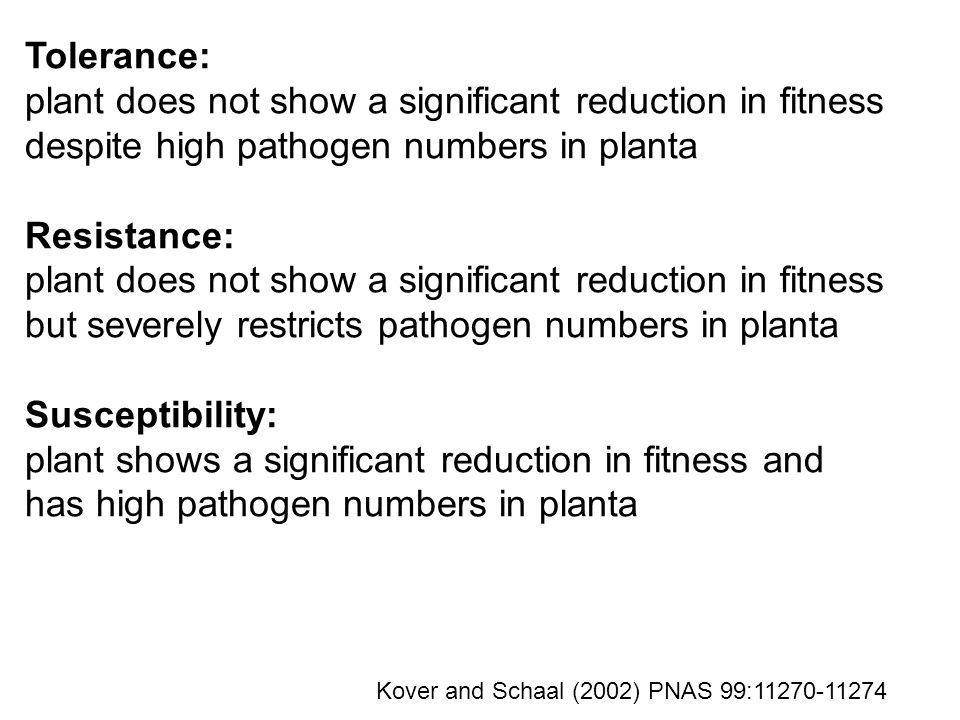 Tolerance: plant does not show a significant reduction in fitness despite high pathogen numbers in planta Resistance: plant does not show a significan