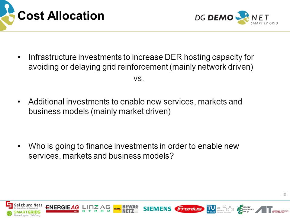 Cost Allocation Infrastructure investments to increase DER hosting capacity for avoiding or delaying grid reinforcement (mainly network driven) vs.