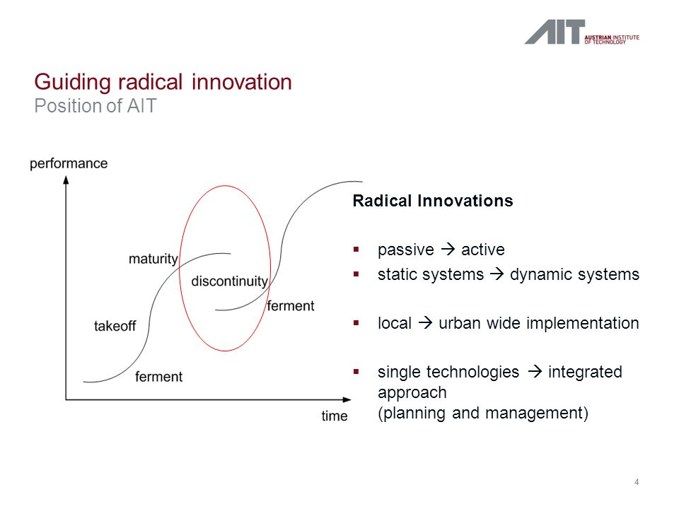 4 Guiding radical innovation Position of AIT Radical Innovations  passive  active  static systems  dynamic systems  local  urban wide implementation  single technologies  integrated approach (planning and management) 4