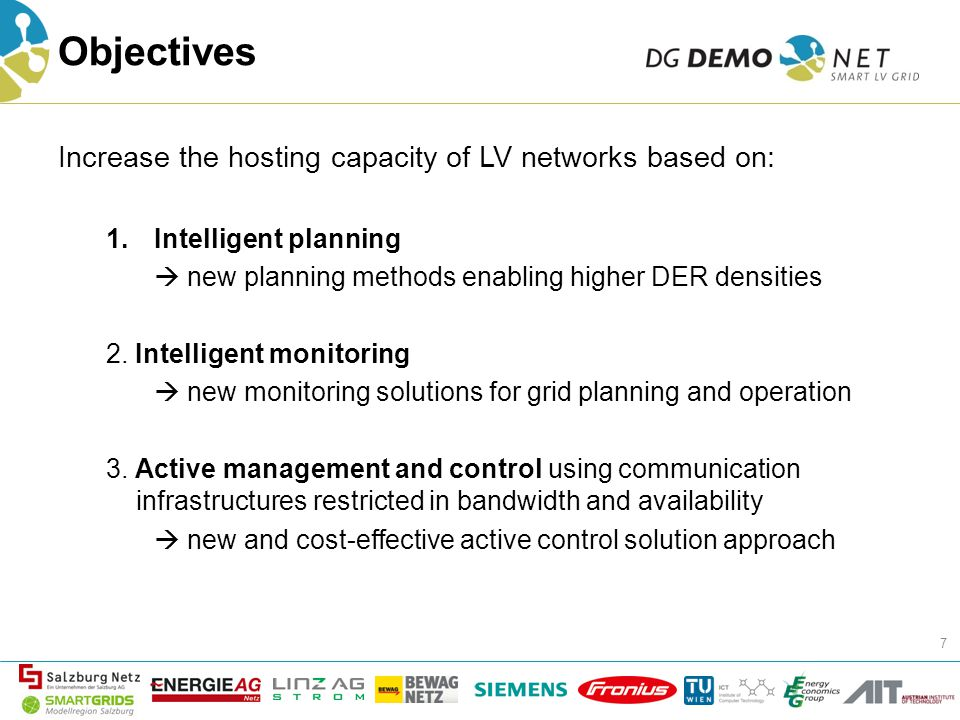 Objectives Increase the hosting capacity of LV networks based on: 1.Intelligent planning  new planning methods enabling higher DER densities 2.