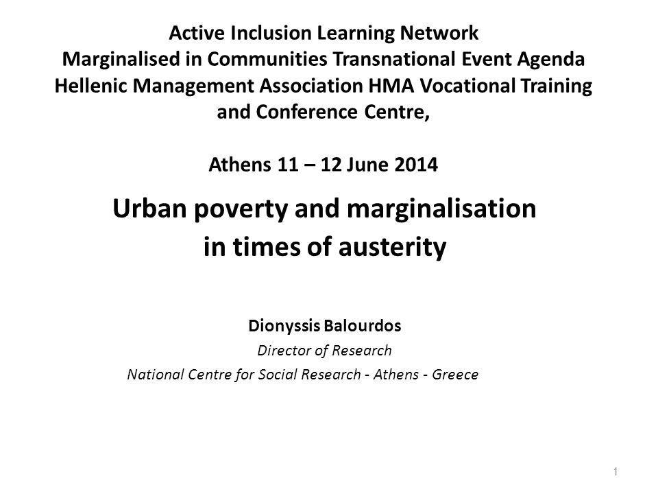 Active Inclusion Learning Network Marginalised in Communities Transnational Event Agenda Hellenic Management Association HMA Vocational Training and C