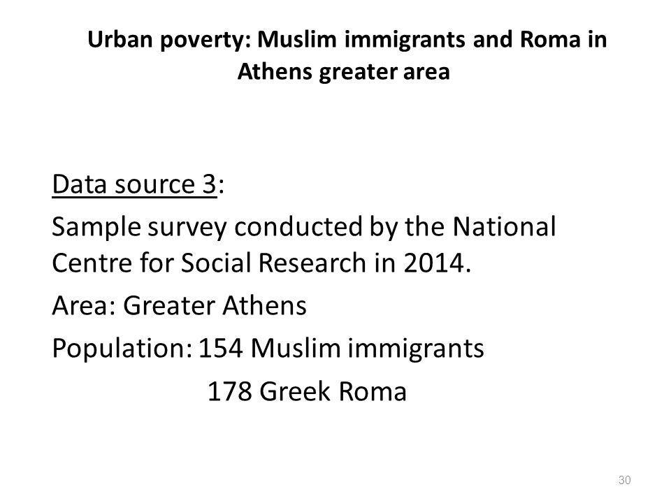 Urban poverty: Muslim immigrants and Roma in Athens greater area Data source 3: Sample survey conducted by the National Centre for Social Research in