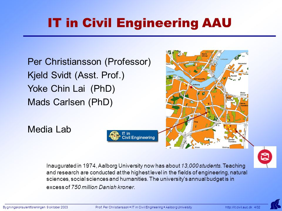 Bygningskonsulentforeningen 9 oktober 2003 Prof. Per Christiansson  IT in Civil Engineering  Aalborg University http://it.civil.auc.dk 4/32 IT in Ci