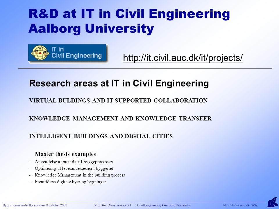 Bygningskonsulentforeningen 9 oktober 2003 Prof. Per Christiansson  IT in Civil Engineering  Aalborg University http://it.civil.auc.dk 9/32 R&D at I