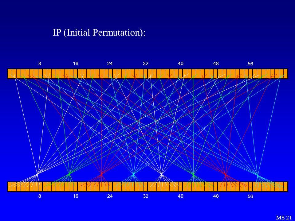 MS 21 IP (Initial Permutation): 81624324048 56 81624324048 56