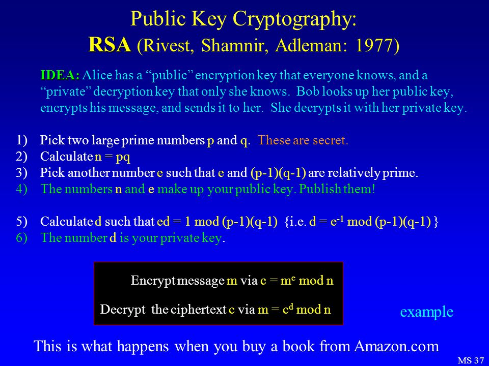 MS 37 RSA Public Key Cryptography: RSA (Rivest, Shamnir, Adleman: 1977) IDEA: IDEA: Alice has a public encryption key that everyone knows, and a private decryption key that only she knows.