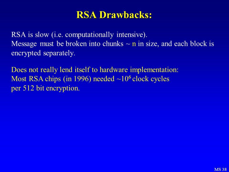 MS 38 RSA Drawbacks: RSA is slow (i.e. computationally intensive).