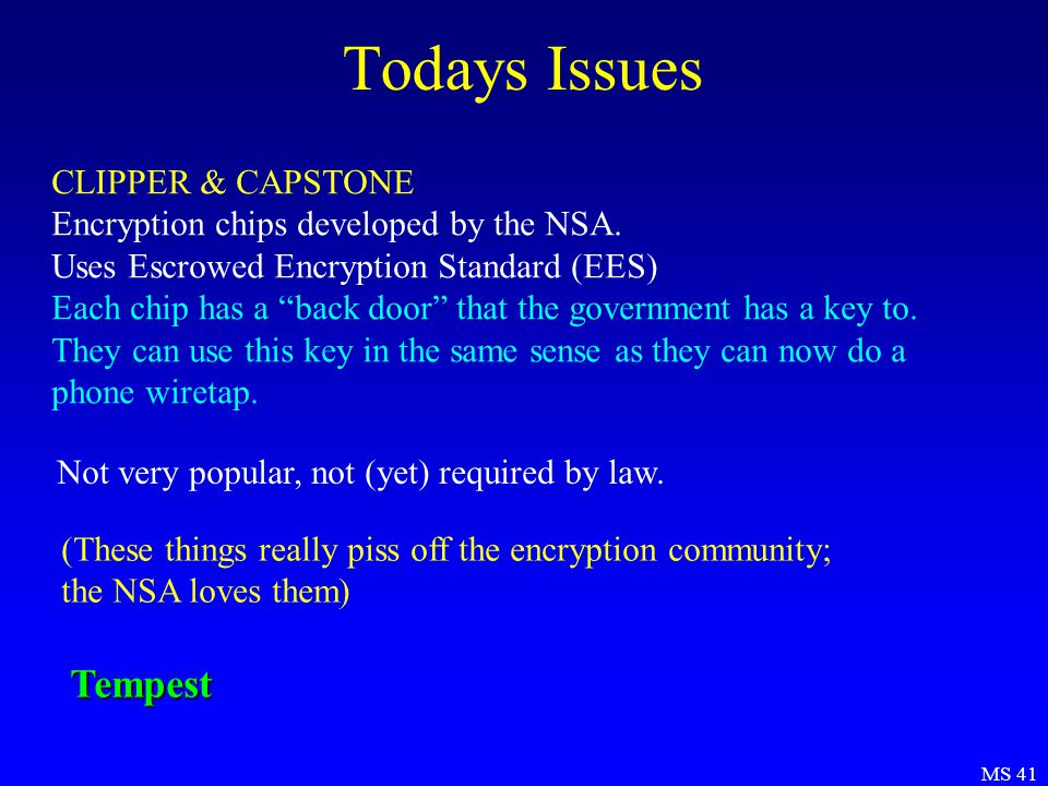 MS 41 Todays Issues CLIPPER & CAPSTONE Encryption chips developed by the NSA.
