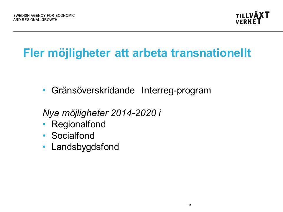 SWEDISH AGENCY FOR ECONOMIC AND REGIONAL GROWTH Fler möjligheter att arbeta transnationellt 11 Gränsöverskridande Interreg-program Nya möjligheter 2014-2020 i Regionalfond Socialfond Landsbygdsfond