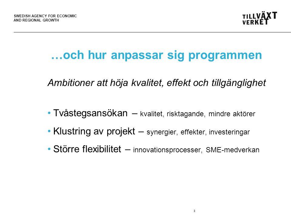 SWEDISH AGENCY FOR ECONOMIC AND REGIONAL GROWTH …och hur anpassar sig programmen Ambitioner att höja kvalitet, effekt och tillgänglighet Tvåstegsansökan – kvalitet, risktagande, mindre aktörer Klustring av projekt – synergier, effekter, investeringar Större flexibilitet – innovationsprocesser, SME-medverkan 3