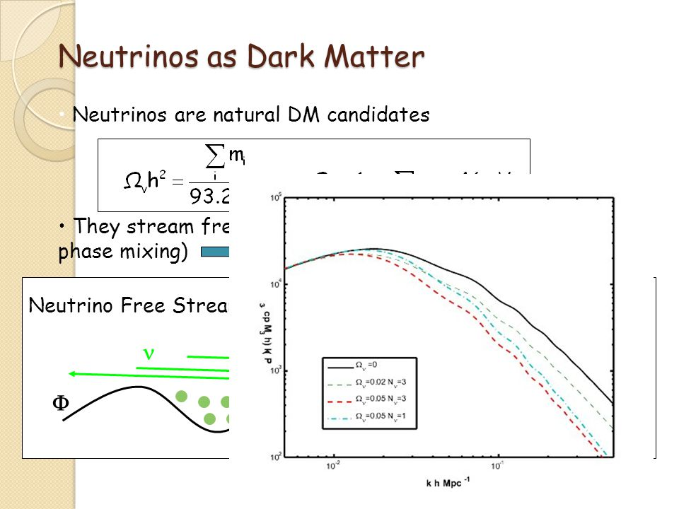 Neutrinos as Dark Matter Neutrinos are natural DM candidates They stream freely until non-relativistic (collisionless phase mixing) Neutrinos are HOT