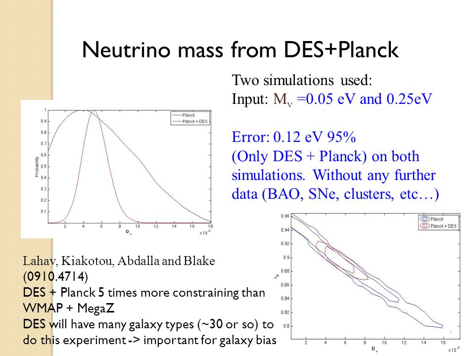 Neutrino mass from DES+Planck Lahav, Kiakotou, Abdalla and Blake (0910.4714) DES + Planck 5 times more constraining than WMAP + MegaZ DES will have many galaxy types (~30 or so) to do this experiment -> important for galaxy bias Two simulations used: Input: M =0.05 eV and 0.25eV Error: 0.12 eV 95% (Only DES + Planck) on both simulations.