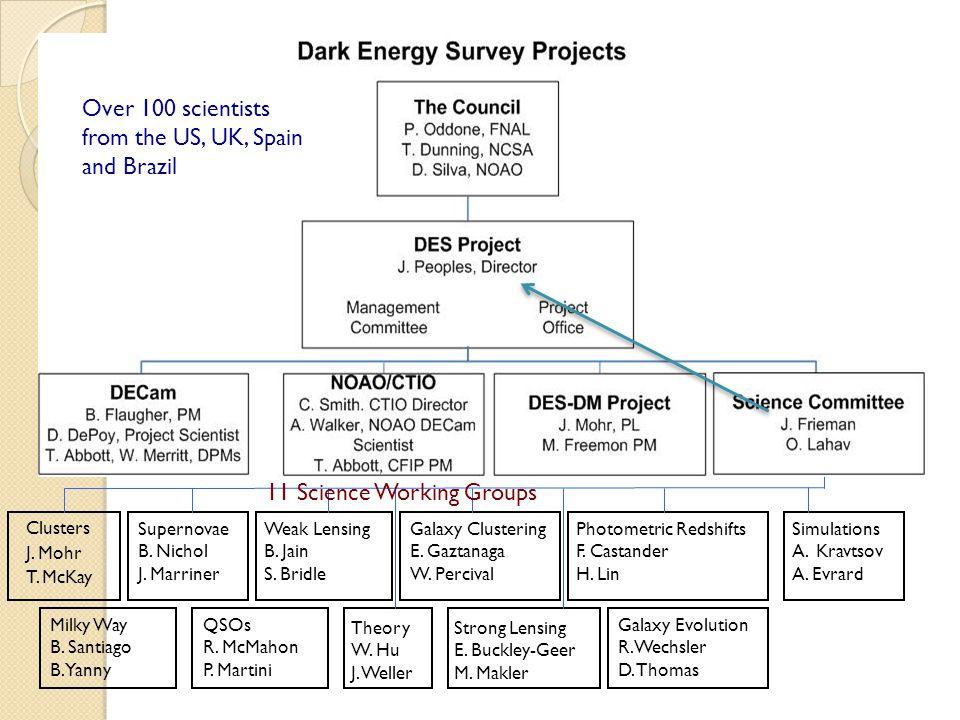 DES Organization Supernovae B. Nichol J. Marriner Clusters J.