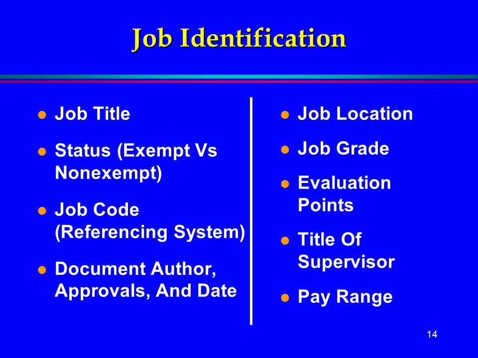 14 Job Identification l Job Title l Status (Exempt Vs Nonexempt) l Job Code (Referencing System) l Document Author, Approvals, And Date l Job Location