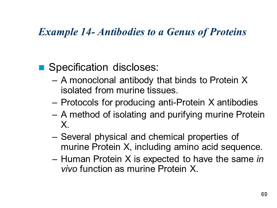 69 Example 14- Antibodies to a Genus of Proteins Specification discloses: –A monoclonal antibody that binds to Protein X isolated from murine tissues.