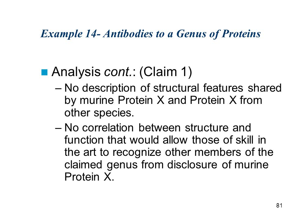 81 Example 14- Antibodies to a Genus of Proteins Analysis cont.: (Claim 1) –No description of structural features shared by murine Protein X and Protein X from other species.