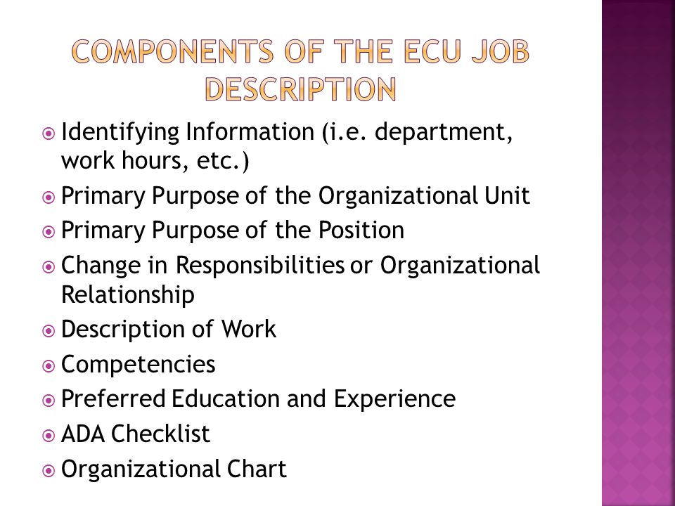 Identifying Information (i.e. department, work hours, etc.)  Primary Purpose of the Organizational Unit  Primary Purpose of the Position  Change