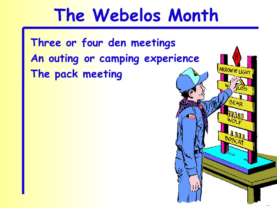 The Webelos Month Three or four den meetings An outing or camping experience The pack meeting