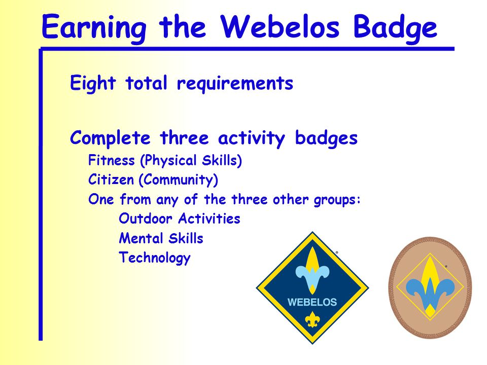 Earning the Webelos Badge Eight total requirements Complete three activity badges Fitness (Physical Skills) Citizen (Community) One from any of the three other groups: Outdoor Activities Mental Skills Technology