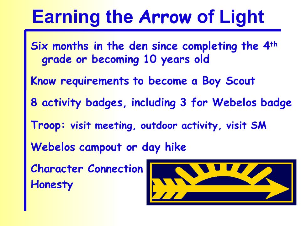Earning the Arrow of Light Six months in the den since completing the 4 th grade or becoming 10 years old Know requirements to become a Boy Scout 8 activity badges, including 3 for Webelos badge Troop: visit meeting, outdoor activity, visit SM Webelos campout or day hike Character Connection Honesty