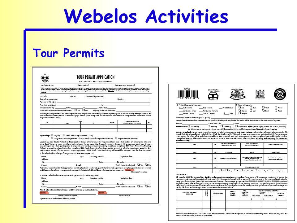 Webelos Activities Tour Permits