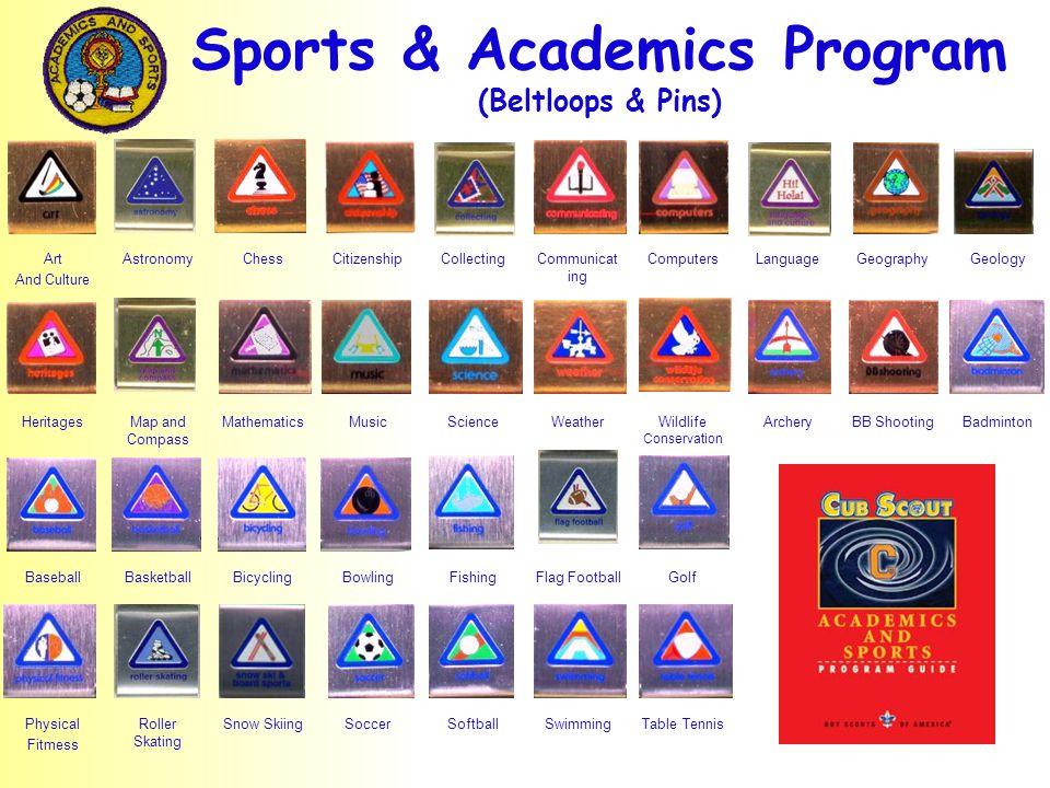 Sports & Academics Program (Beltloops & Pins) Art And Culture AstronomyChessCitizenshipCollectingCommunicat ing ComputersLanguageGeographyGeology Heri