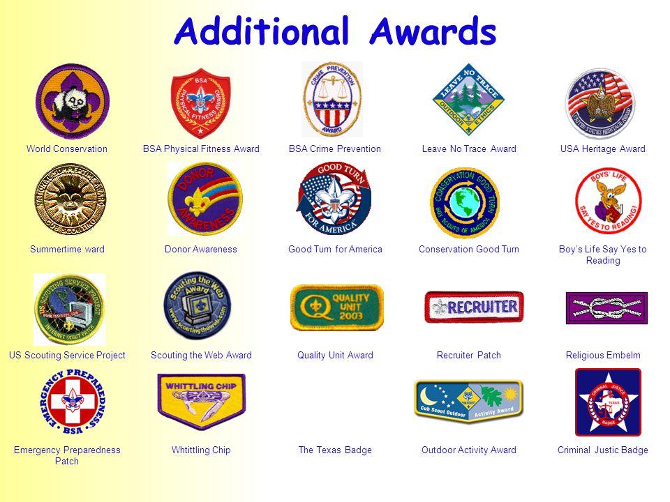 World ConservationBSA Physical Fitness AwardBSA Crime PreventionLeave No Trace AwardUSA Heritage Award Summertime wardDonor AwarenessGood Turn for Ame