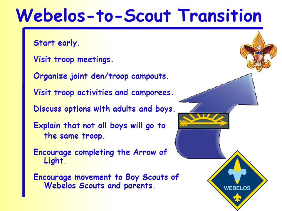 Start early. Visit troop meetings. Organize joint den/troop campouts. Visit troop activities and camporees. Discuss options with adults and boys. Expl