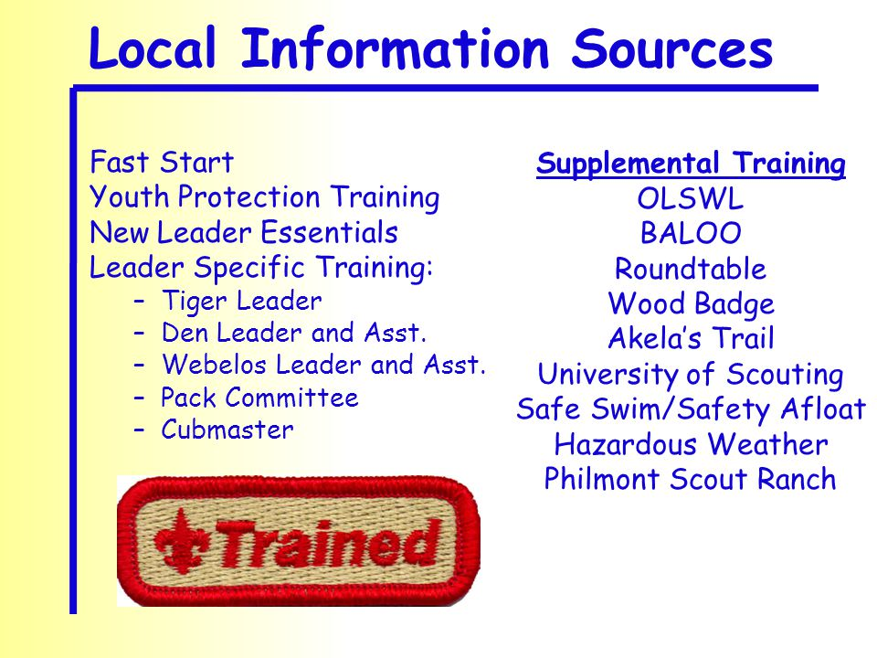 Local Information Sources Fast Start Youth Protection Training New Leader Essentials Leader Specific Training: –Tiger Leader –Den Leader and Asst. –We
