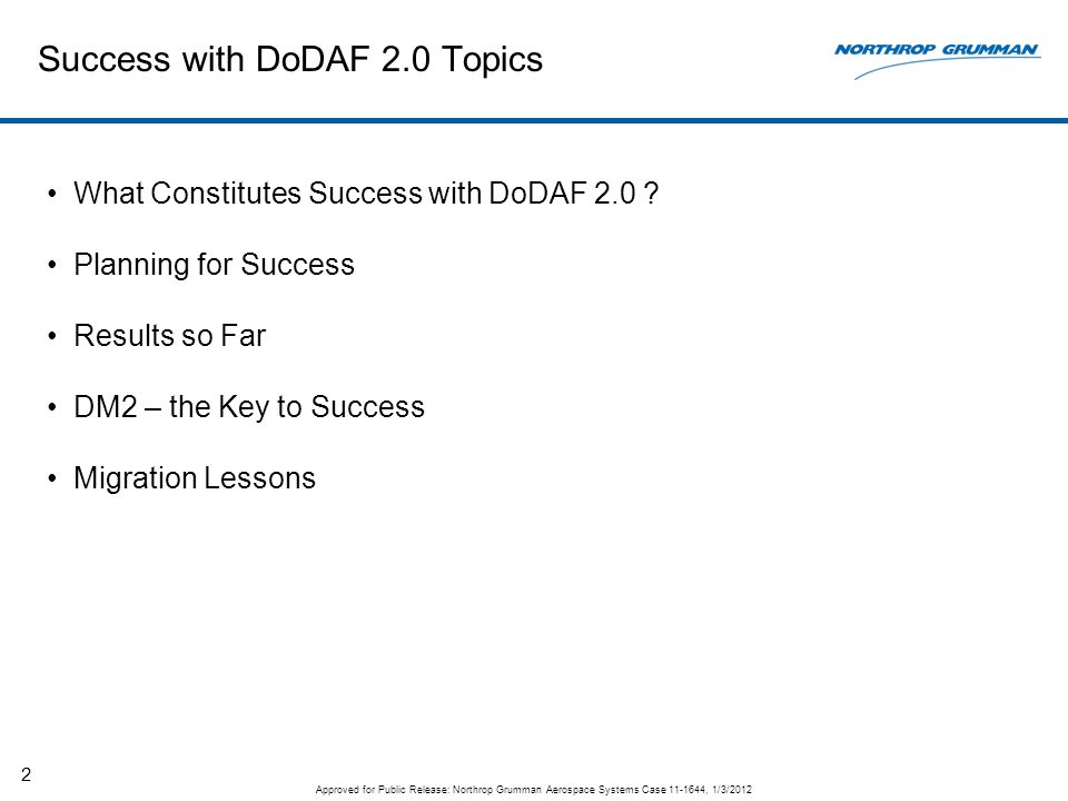 Success with DoDAF 2.0 Topics What Constitutes Success with DoDAF 2.0 ? Planning for Success Results so Far DM2 – the Key to Success Migration Lessons