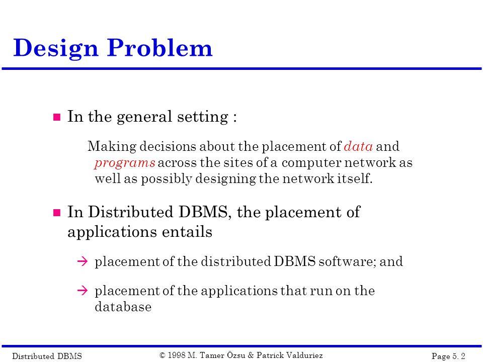 Distributed DBMSPage 5.3 © 1998 M.