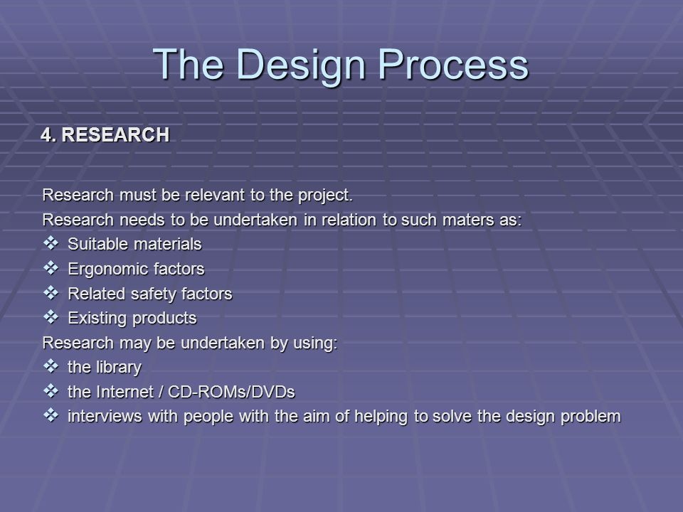 The Design Process 4. RESEARCH Research must be relevant to the project.