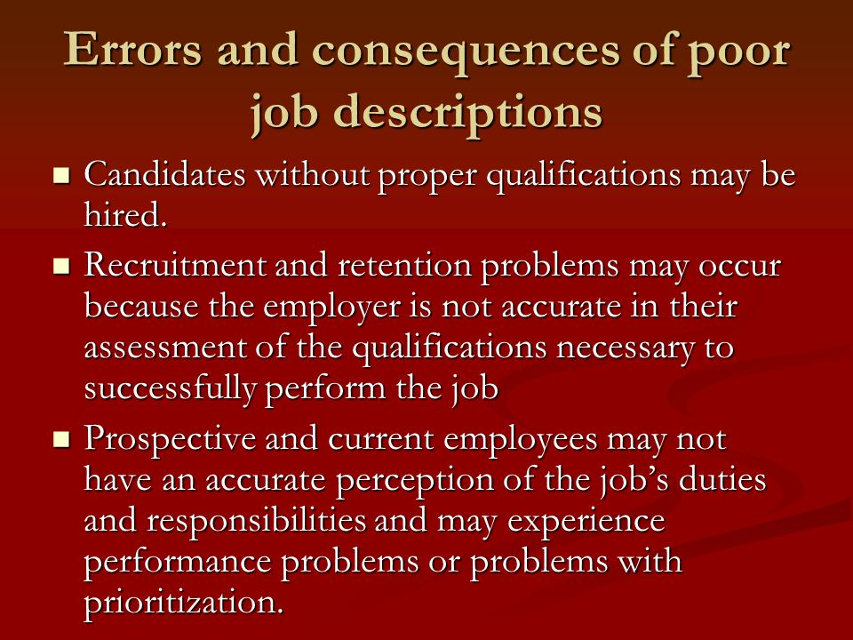 What are the major components of a job description.