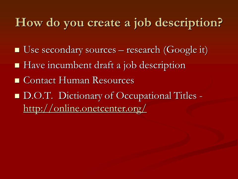 How do you create a job description.