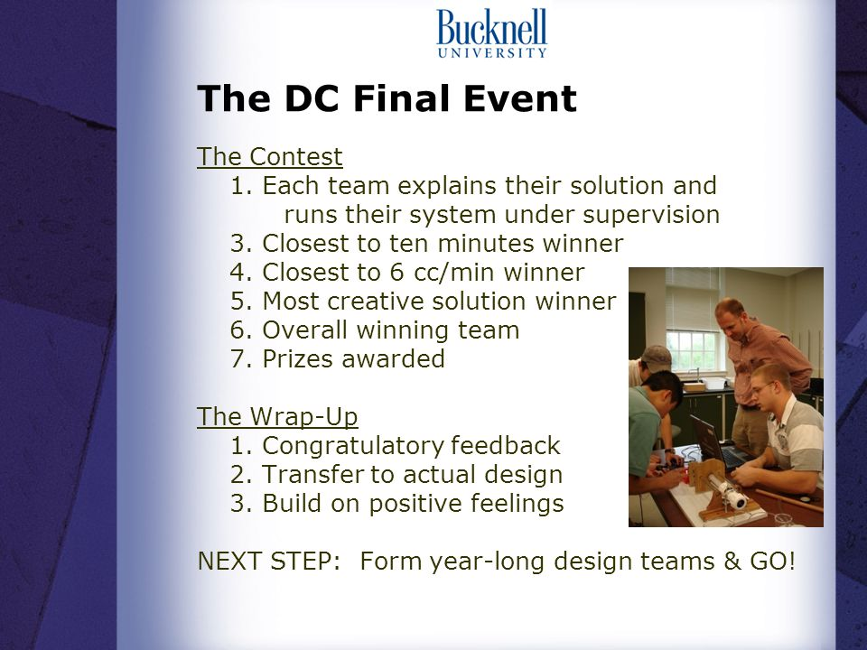 The DC Final Event The Contest 1.
