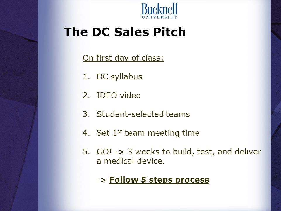 The DC Sales Pitch On first day of class: 1.DC syllabus 2.IDEO video 3.Student-selected teams 4.Set 1 st team meeting time 5.GO.