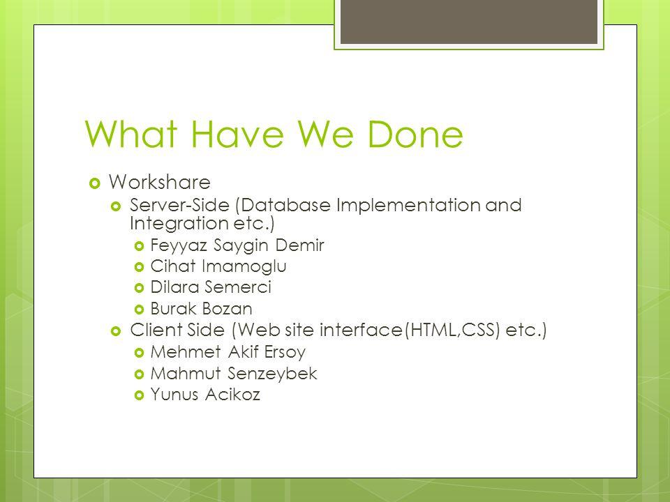 What Have We Done  Workshare  Server-Side (Database Implementation and Integration etc.)  Feyyaz Saygin Demir  Cihat Imamoglu  Dilara Semerci  Burak Bozan  Client Side (Web site interface(HTML,CSS) etc.)  Mehmet Akif Ersoy  Mahmut Senzeybek  Yunus Acikoz