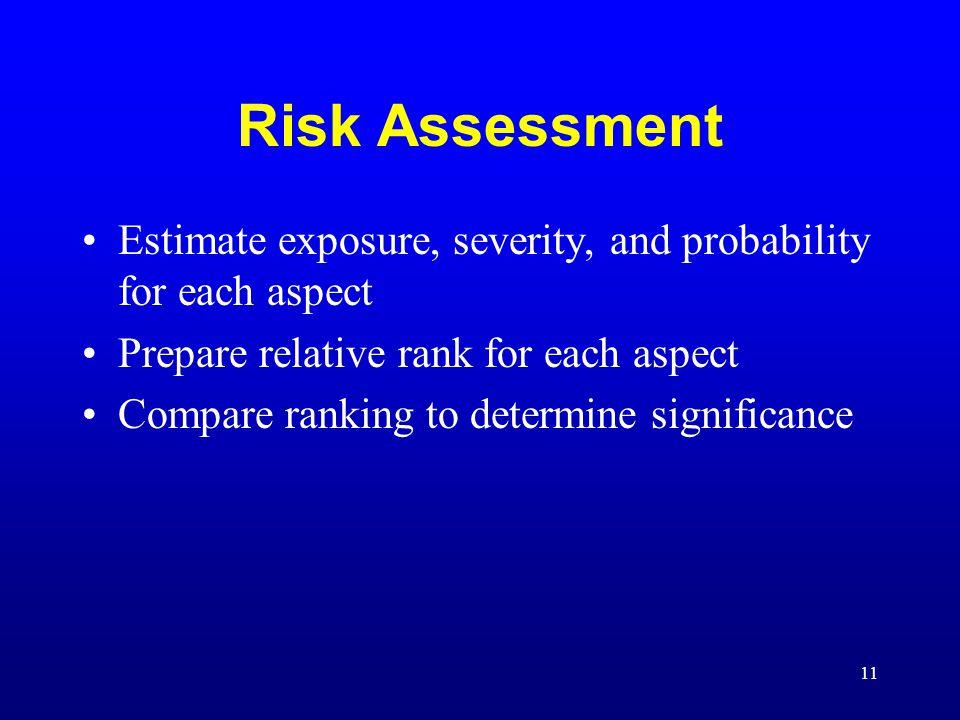 11 Risk Assessment Estimate exposure, severity, and probability for each aspect Prepare relative rank for each aspect Compare ranking to determine sig