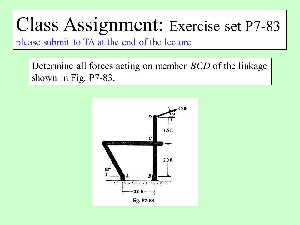 Class Assignment: Exercise set P7-83 please submit to TA at the end of the lecture Determine all forces acting on member BCD of the linkage shown in F
