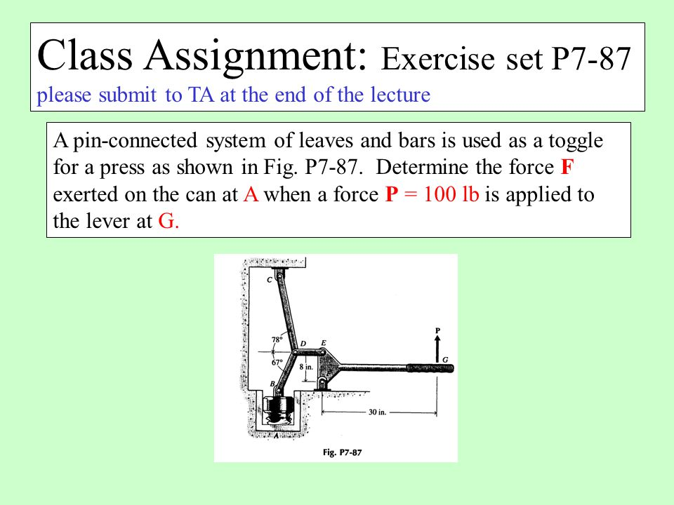 Class Assignment: Exercise set P7-87 please submit to TA at the end of the lecture A pin-connected system of leaves and bars is used as a toggle for a