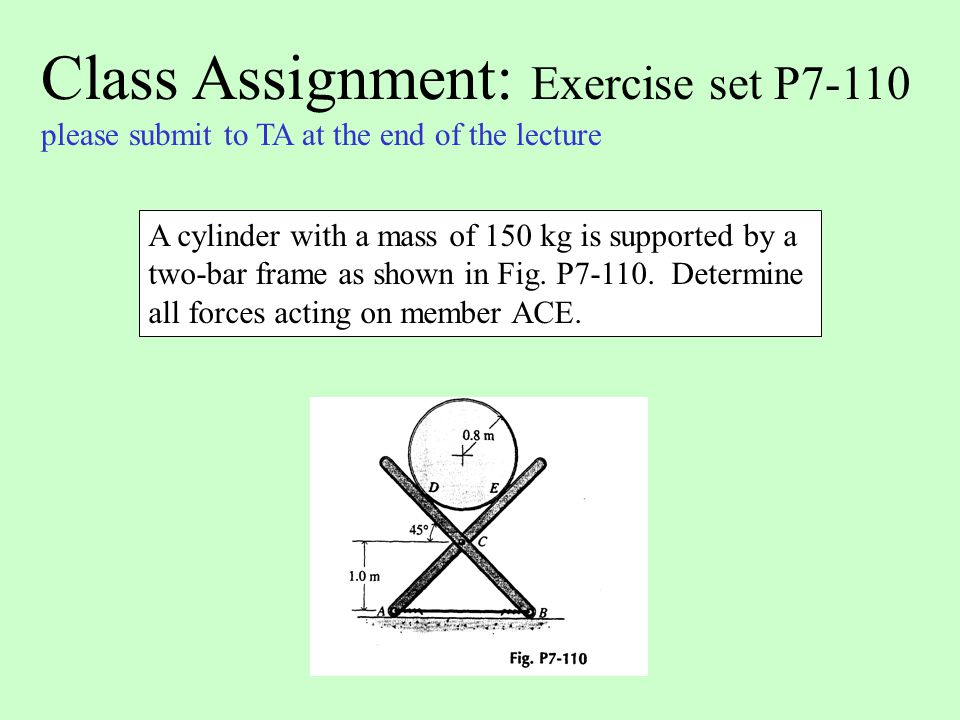 Class Assignment: Exercise set P7-110 please submit to TA at the end of the lecture A cylinder with a mass of 150 kg is supported by a two-bar frame a