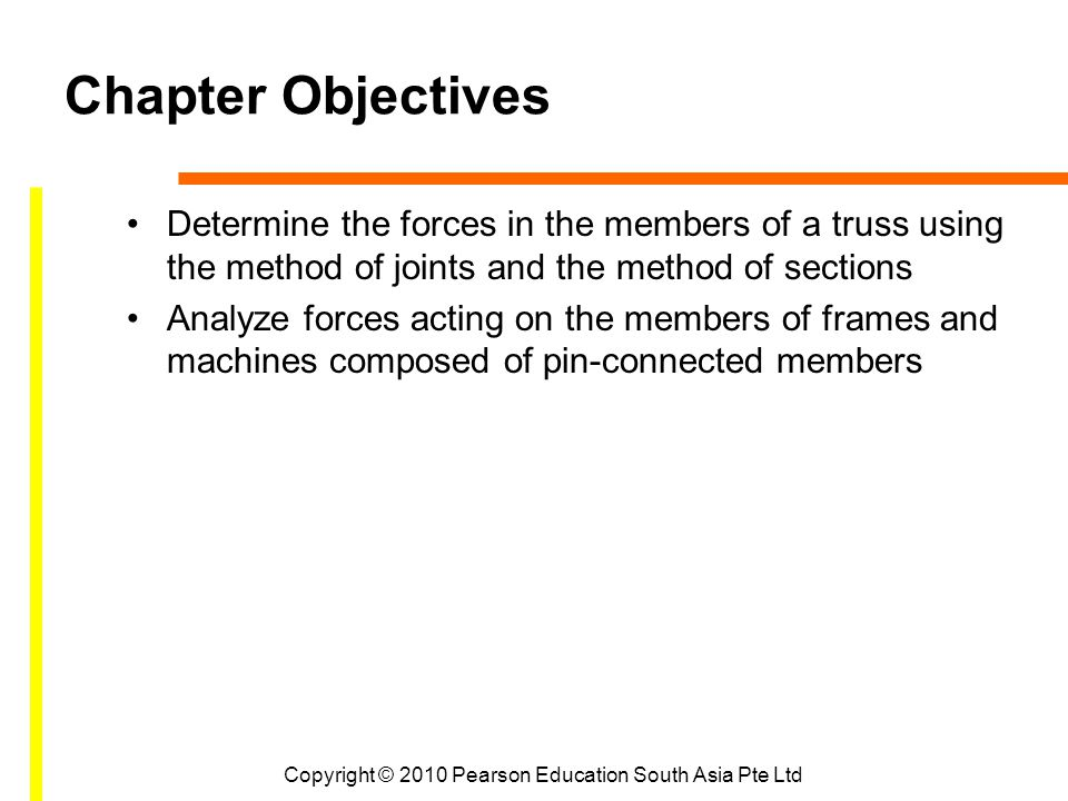 Chapter Objectives Determine the forces in the members of a truss using the method of joints and the method of sections Analyze forces acting on the members of frames and machines composed of pin-connected members